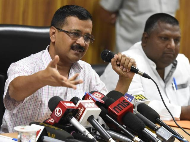 Delhi chief minister Arvind Kejriwal addresses a press conference at his residence in New Delhi on Saturday.