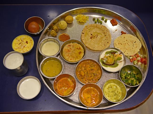 There are around 35 items on the menu at Shree Thaker Bhojanalay in Kalbadevi, which is famous for its authentic Gujarati thalis.