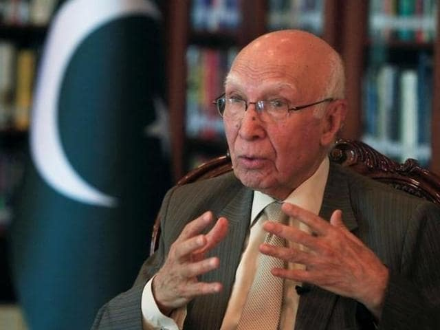 File photo of Sartaj Aziz. Aziz  has said that there is no chance of a breakthrough in relations between Pakistan and India under the Modi government.