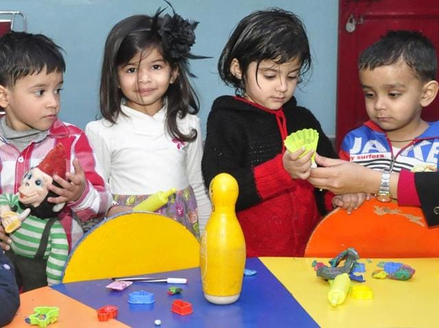 Children during nursery admissions at a school in Ludhiana.