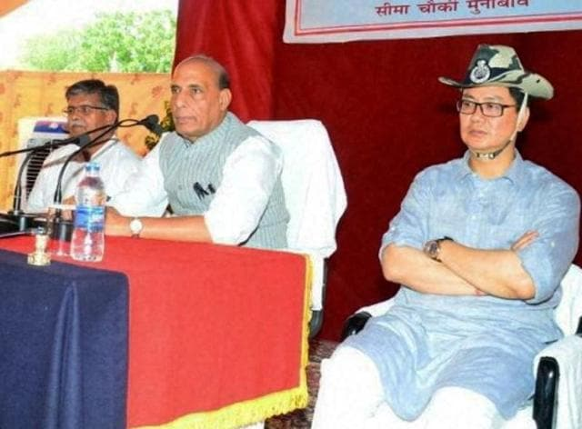 Union home minister Rajnath Singh with MoS, home affairs, Kiren Rijiju at Munabao, Barmer.