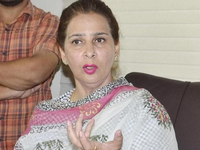 Navjot Kaur during a press conference in Amritsar on Sunday.
