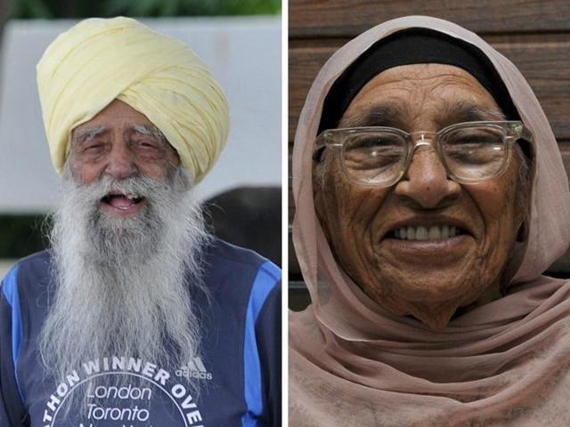 Fauja Singh,Mann Kaur,centenarian runners