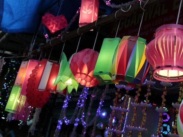 Indian lights are more in demand this year ar Sadar Bazar.
