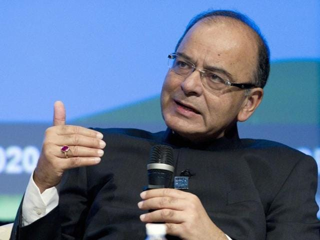 Finance minister Arun Jaitley speaks during a panel discussion at the World Bank/IMF Annual Meetings at IMF headquarters in Washington.