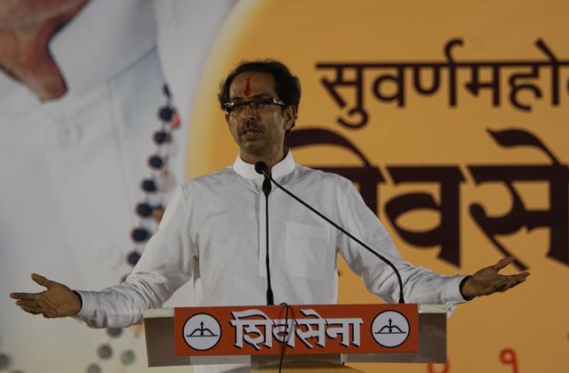 Shiv Sena chief Uddhav Thackeray addressing the Dussehra rally at Shivaji Park in Dadar on October 22 last year.