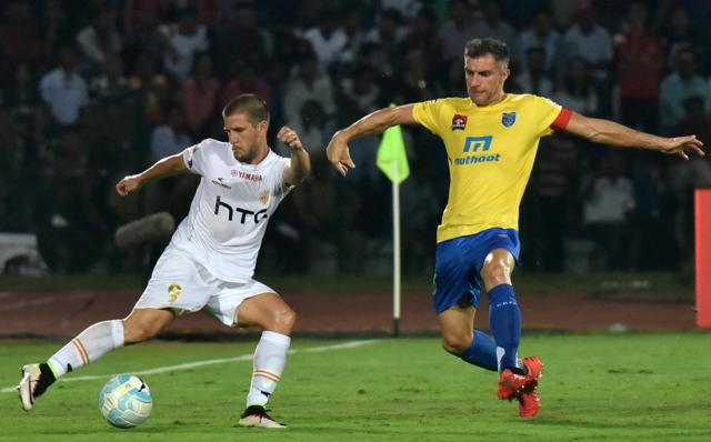 Kerala Blasters (in yellow) lost their opener to Northeast United FC before going down to Atletico de Kolkata at home.