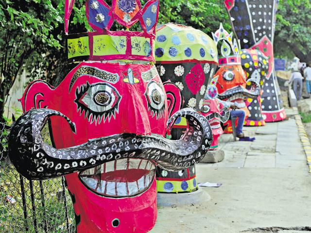 Effigies of demon king Ravana for sale along old Delhi-Gurgoan road ahead of Dussehra, on Friday.