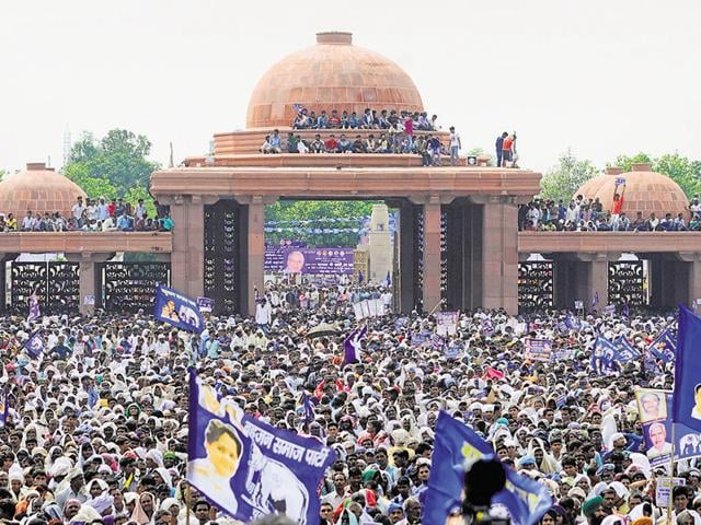 A massive crowd gathered during a rally held on the death anniversary of Bahujan Samaj Party founder Kanshi Ram at the Kanshi Ram Memorial in Lucknow on Sunday.