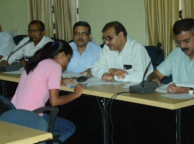 Ruby Rai, the Bihar School Examination Board (BSEB)'s Class XII (arts) topper, appears for the re-test before an expert panel.