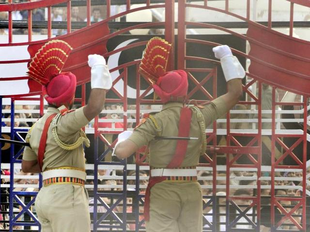 Border Security Force (BSF) jawans during beating the retreat ceremony at Attari Border in Amritsar.