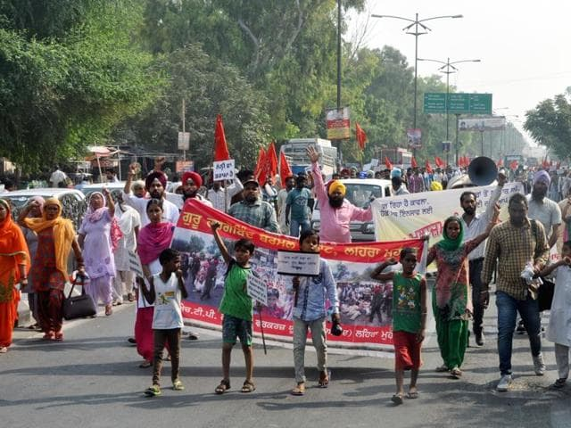 Contractual workers holding a protest in Bathinda on Sunday.