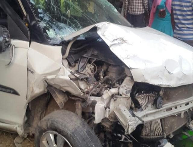 The two cars that collided near Jhander village, 10 km from Tarn Taran, on Sunday.