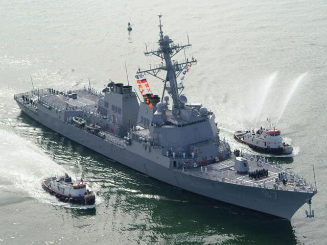 The USS Mason (DDG 87), a guided missile destroyer, arrives at Port Canaveral, Florida.
