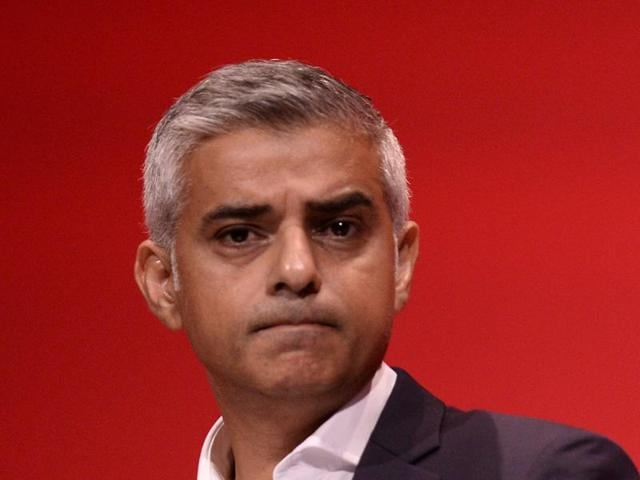 File photo of London mayor Sadiq Khan speaking at the annual Labour Party conference in Liverpool on September 27.