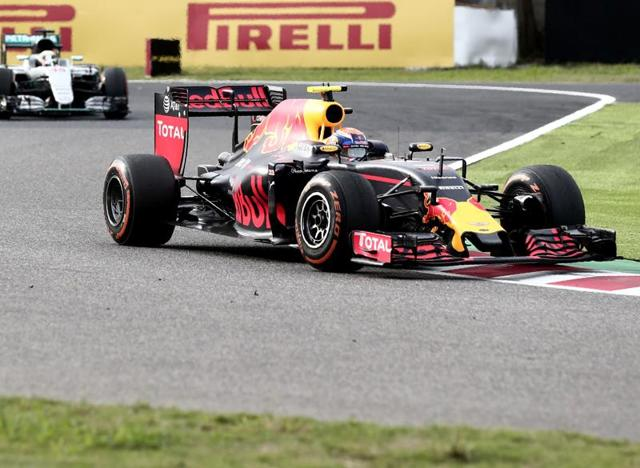 Red Bull's Max Verstappen of the Netherlands in action during the race.