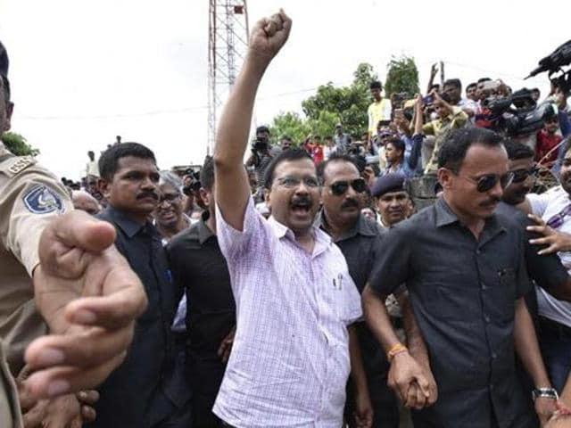 Delhi CM Arvind Kejriwal during his visit to Gujarat's Una district on July 22.