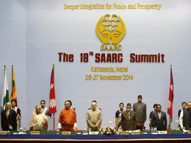Saarc leaders attend the closing session of the 18th summit of the South Asian Association for Regional Cooperation in Kathmandu, Nepal.