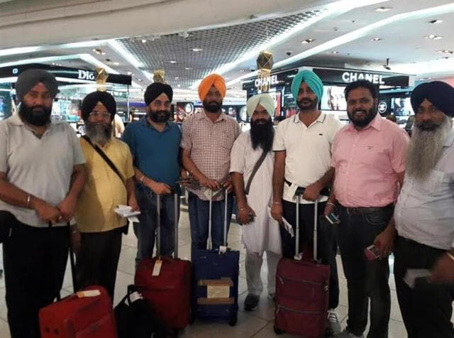 Mayor Amarinder Bajaj with MC councillors at the airport.