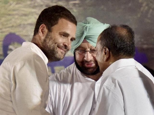 Congress vice president Rahul Gandhi with party leaders AK Antony and Capt A Singh during farmers rally at Jantar Mantar in New Delhi after his month-long Kisan Yatra in Uttar Pradesh.