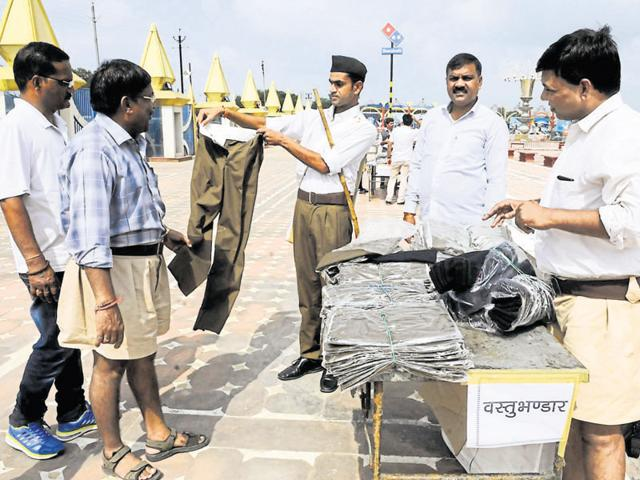 RSS cadre buy new uniforms. The change in uniform was initiated to keep pace with the times and attract youngsters.