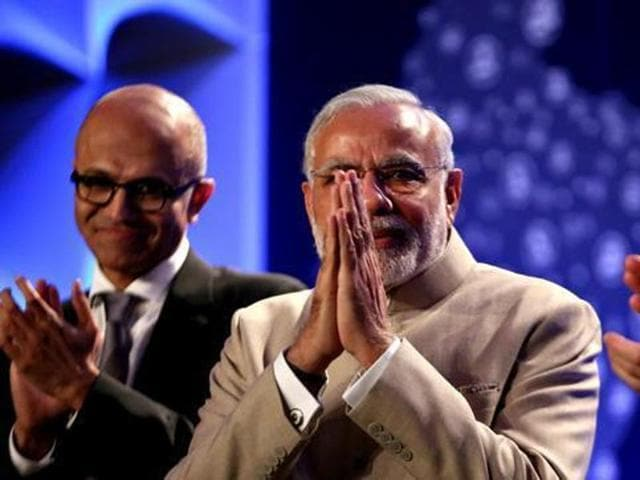 This photo file photo shows Prime Minister Narendra Modi at the Digital India dinner held at Fairmont Hotel in San Jose on Saturday, Sept. 26, 2015. The event was attended by Silicon Valley CEOs including Sundar Pichai of Google, Satya Nadella of Microsoft, John Chambers of Cisco and Shantanu Narayan of Adobe.(AP)