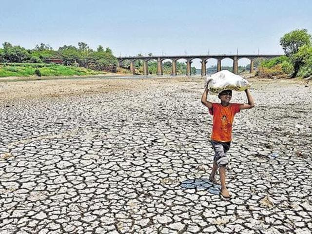 Unlike the 1972 drought, which didn't report farmer suicides or water scarcity, more than 1,000 farmers committed suicide last year.(HT File Photo)