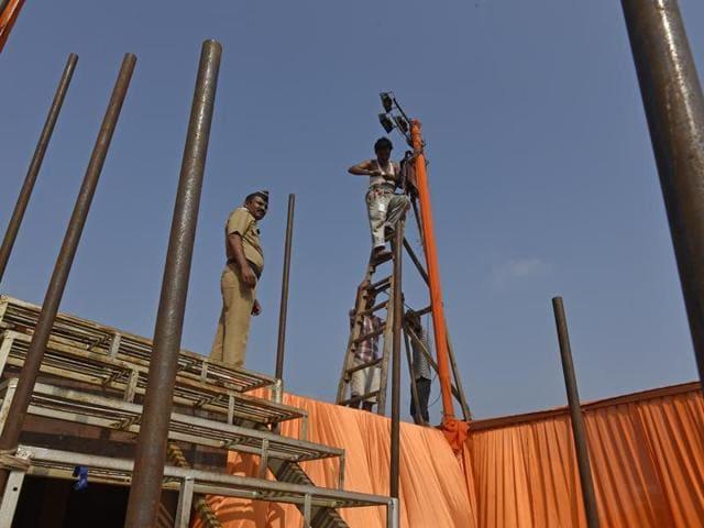 Preparations on at Shivaji Park in Dadar on Monday.