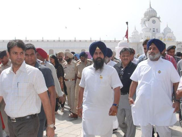 Punjab deputy chief minister Sukhbir Singh Badal reviewing development works near the Golden Temple in Amritsar on Monday.