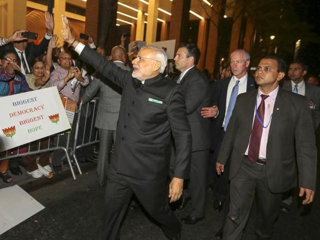 This photo file photo shows Prime Minister Narendra Modi at the Digital India dinner held at Fairmont Hotel in San Jose on Saturday, Sept. 26, 2015. The event was attended by Silicon Valley CEOs including Sundar Pichai of Google, Satya Nadella of Microsoft, John Chambers of Cisco and Shantanu Narayan of Adobe.