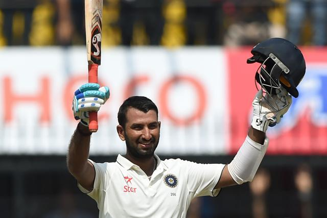 Pujara scored 101 off 148 balls for his eighth Test century.