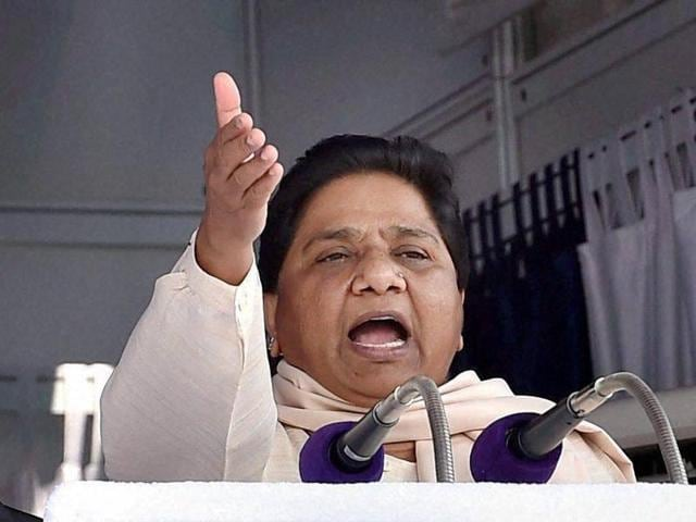 BSP chief Mayawati addresses party workers at a function in Lucknow.
