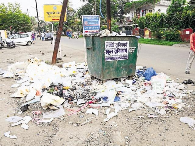 Garbage dumped at Arera colony in Bhopal on Monday. Minister Maya Singh's direction to ensure proper waste management during festivities has fallen on deaf ears.