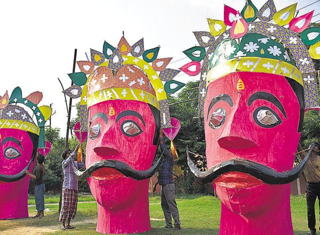 Artisans and craftsmen have spent nearly a month to make the effigies of Ravan which will be set afire on the festival of Dussehra on Tuesday.