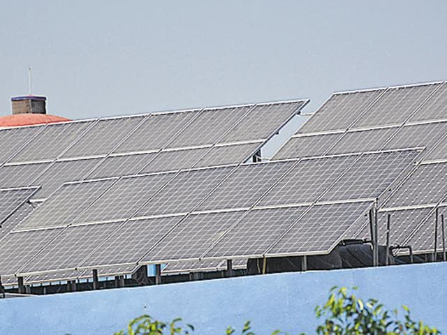 Solar panels installed in Ghaziabad.