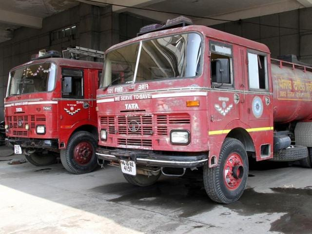Fire tenders at the Fire Brigade office near the Railway Station in Ludhiana on Monday.
