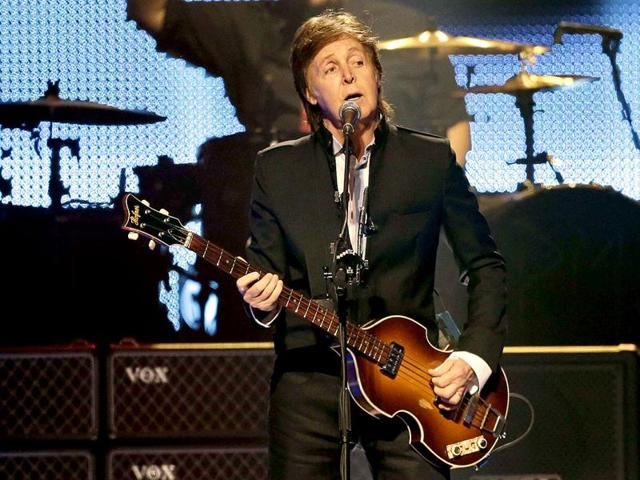 Paul McCartney and Neil Young sang Give Peace A Chance at the Desert Trip festival, California, USA.