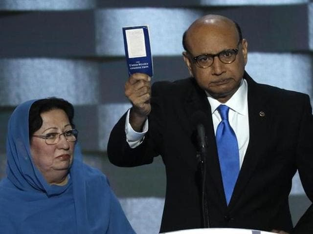Khizr Khan, whose son, Humayun S M Khan was one of 14 American Muslims who died serving in the US Army in the 10 years after the 9/11 attacks, during the last night of the Democratic National Convention in Philadelphia, Pennsylvania.