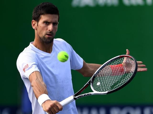 Serbia's Novak Djokovic hits a shot during a training session at the Shanghai Masters tennis tournament.