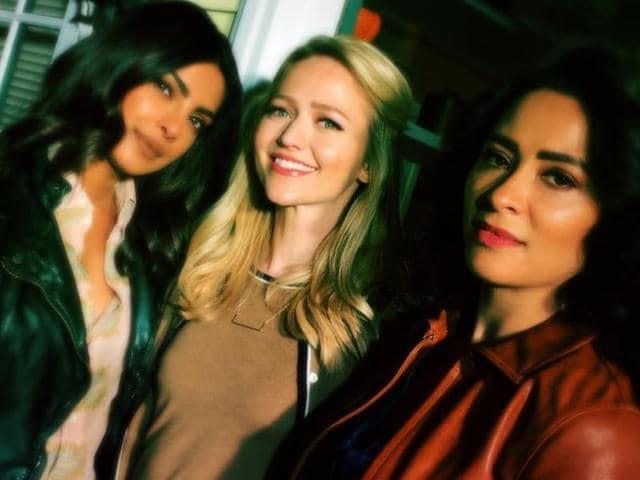 Yasmine Al Massri (R) with her Quantico co-stars Johanna Braddy (C) and Priyanka Chopra.