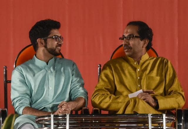 Sena chief Uddhav Thackeray and his son Aaditya at the rally.