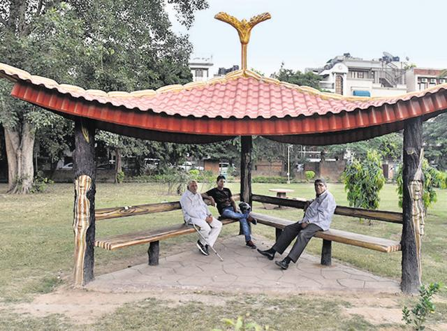 Designer huts constructed in parks by South Corporation at the Sarvodaya Enclave central park in New Delhi.