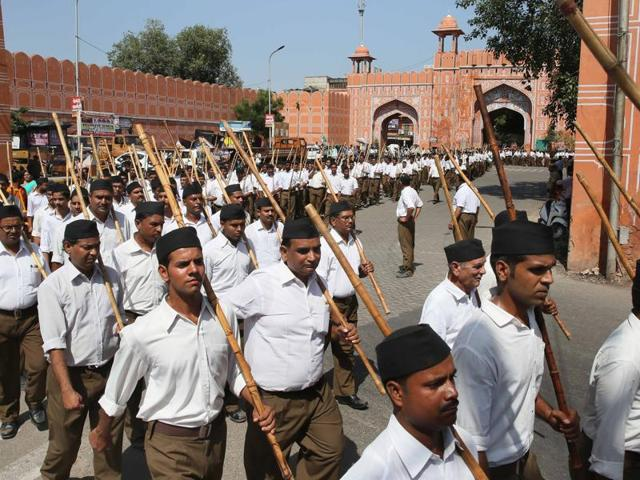 RSS's Path Sanchalan through different areas of the city on the occassion of Vijaydashami festival in Jaipur.