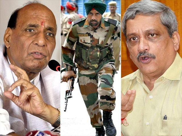 Union home minister Rajnath Singh chaired a high-level review meeting attended by defence minister Manohar Parrikar on the security situation in the country.