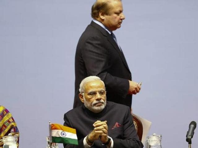 Pakistan PMNawaz Sharif and Prime Minister Narendra Modi  attend the opening session of 18th South Asian Association for Regional Cooperation (SAARC) summit in Kathmandu.