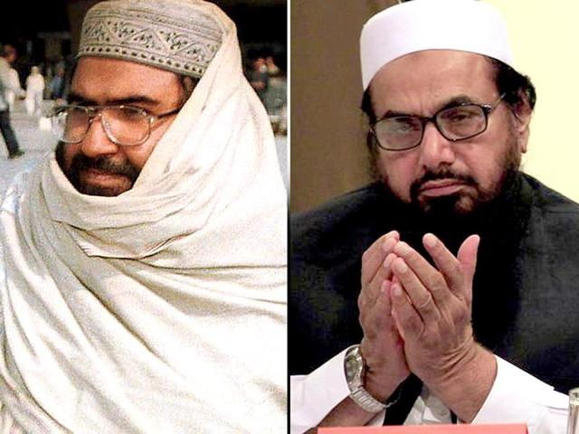 JeM chief Masood Azhar (left) and Mumbai attacks mastermind Hafiz Saeed (right) have experessed opposite views on Pakistan's ties with India.