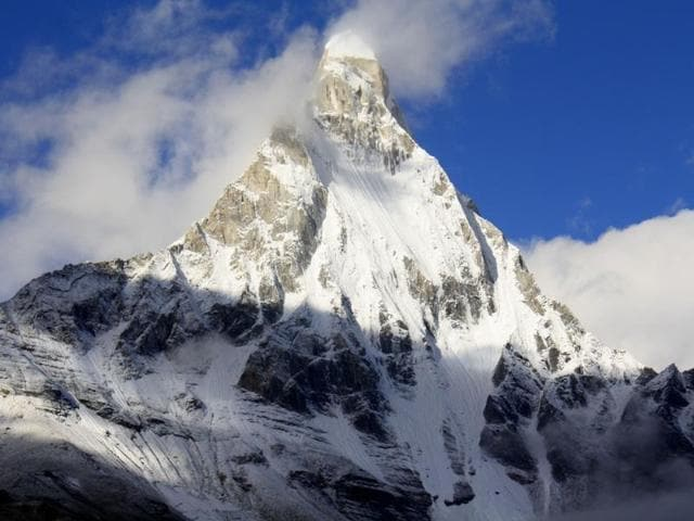 Two Polish mountaineers – L John and J Michael-- were trapped close to the Mount Shivling (in picture) at a height of 5,900 metre from the sea level after their rope got snapped on TuesdayMt Shivling in Uttarakhand