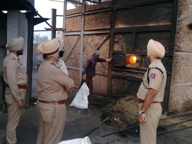 Recovered narcotics being destroyed at Dera Bassi in SAS Nagar on Wednesday.