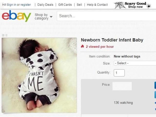 The ad of 40-day-old girl for sale on eBay appeared online for around 30 minutes on Tuesday.