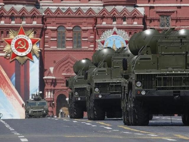 Russian S-400 Triumph medium-range and long-range surface-to-air missile systems drive during the Victory Day parade, at Red Square in Moscow.